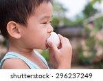 children eat boiled eggs   Shutterstock . vector #296237249