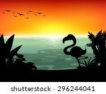 Lake Scene With Silhouette Bir...