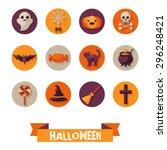set of halloween characters on...   Shutterstock .eps vector #296248421