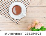 coffee fresh cup on wooden... | Shutterstock . vector #296254925