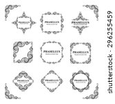 vector set. ornate frames and... | Shutterstock .eps vector #296255459
