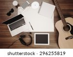 office desk background ... | Shutterstock . vector #296255819