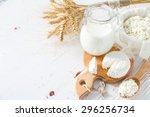 fresh dairy products  milk ... | Shutterstock . vector #296256734