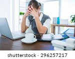depressed businesswoman with... | Shutterstock . vector #296257217