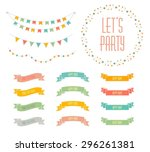 set of celebration retro... | Shutterstock .eps vector #296261381