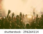 crowd at concert   retro style... | Shutterstock . vector #296264114