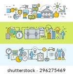 set of thin line flat design... | Shutterstock .eps vector #296275469