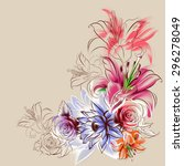 flowers drawn in pencil and... | Shutterstock . vector #296278049