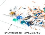 colorful pencil wood shavings... | Shutterstock . vector #296285759