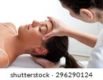 close up of osteopath doing... | Shutterstock . vector #296290124