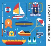 activities on the sea for the... | Shutterstock .eps vector #296293415