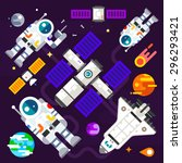 astronauts and spacecraft in...   Shutterstock .eps vector #296293421