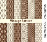 set of nine seamless pattern in ... | Shutterstock .eps vector #296300405