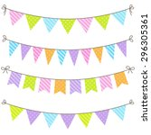 vector set of colorful and... | Shutterstock .eps vector #296305361