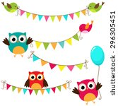 vector set of colorful and... | Shutterstock .eps vector #296305451