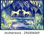 magic wood with unicorns... | Shutterstock . vector #296306069