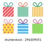 flat colorful gift boxes | Shutterstock .eps vector #296309051