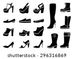 Woman Shoes Icons Set. Fashion...