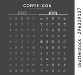coffee bold and thin line icons | Shutterstock .eps vector #296319137