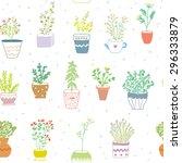 many herbs kitchen seamless... | Shutterstock .eps vector #296333879