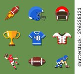 american football flat icons... | Shutterstock .eps vector #296338121