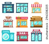 shops and stores icons set in... | Shutterstock .eps vector #296338205