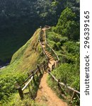 stairs up the hill to waterfall ... | Shutterstock . vector #296339165