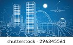 city and transport panorama ... | Shutterstock .eps vector #296345561