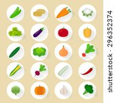 vegetables flat vector icons... | Shutterstock .eps vector #296352374