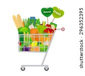 supermarket shopping cart with... | Shutterstock .eps vector #296352395