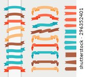 vector ribbons in retro flat... | Shutterstock .eps vector #296352401