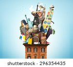 tourist on the roof with... | Shutterstock . vector #296354435
