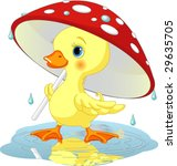 Cute Duckling  Wearing Rain...