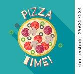 pizza time banner poster...   Shutterstock .eps vector #296357534