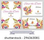 set of invitation cards  floral ... | Shutterstock .eps vector #296363081