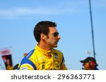 Milwaukee Wisconsin, USA - July 12, 2015: Verizon Indycar Series Indyfest ABC 250 at the Milwaukee Mile. Driver introductions before the race Simon Pagenaud - stock photo