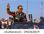 Milwaukee Wisconsin, USA - July 12, 2015: Verizon Indycar Series Indyfest ABC 250 at the Milwaukee Mile. Driver introductions before the race Graham Rahal. - stock photo