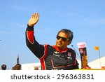 Milwaukee Wisconsin, USA - July 12, 2015: Verizon Indycar Series Indyfest ABC 250 at the Milwaukee Mile. Driver introductions before the race Juan Pablo Montoya . - stock photo