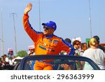 Milwaukee Wisconsin, USA - July 12, 2015: Verizon Indycar Series Indyfest ABC 250 at the Milwaukee Mile. Driver introductions before the race Charlie Kimball - Novo Nordisk sponsor - stock photo