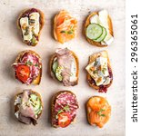 Various Bruschettas On Kitchen...