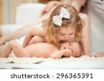 portrait of a newborn baby with ... | Shutterstock . vector #296365391
