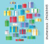 vector colorful flat gift boxes | Shutterstock .eps vector #296365445