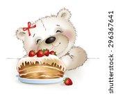 teddy bear and strawberry cake... | Shutterstock .eps vector #296367641