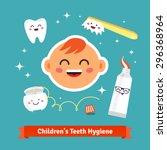 children tooth hygiene icon set.... | Shutterstock .eps vector #296368964