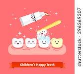 Tooth Hygiene Icon Set. Cute ...