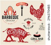 illustration grill menu labels... | Shutterstock .eps vector #296370485