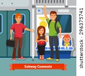subway commute. young people ... | Shutterstock .eps vector #296375741