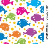 cute seamless pattern with fish | Shutterstock . vector #296377484