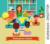 young kindergarten teacher... | Shutterstock .eps vector #296377739