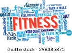 fitness word cloud collage and... | Shutterstock .eps vector #296385875